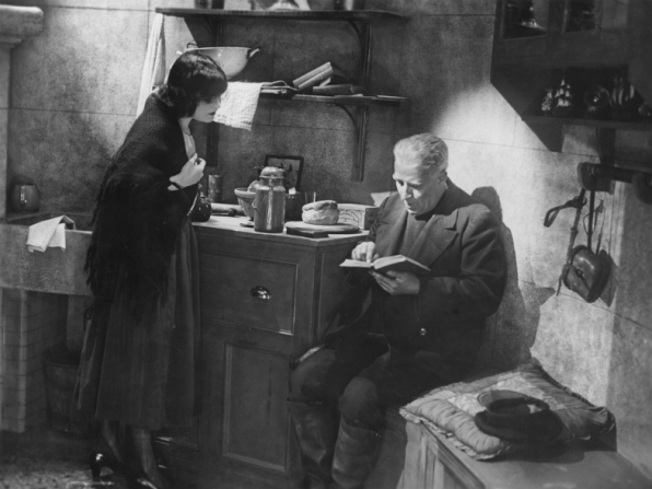 """The Woman He Scorned (1929): """"According to this, he only married you for a bet!"""" Pola Negri listens to old man reading"""