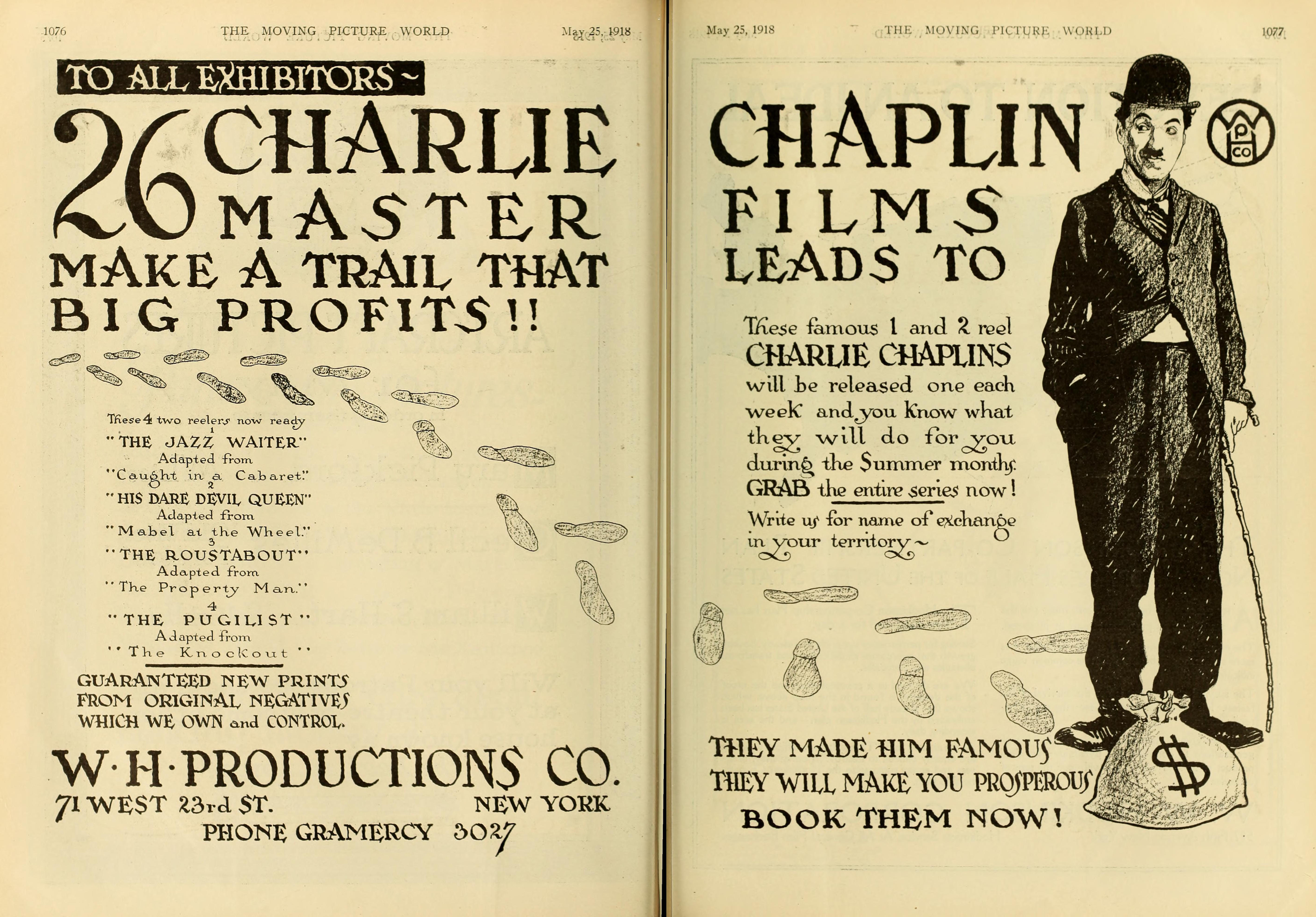 Charlie Chaplin Keystone shorts reissue advert, Moving Picture World magazine, May 25, 1918