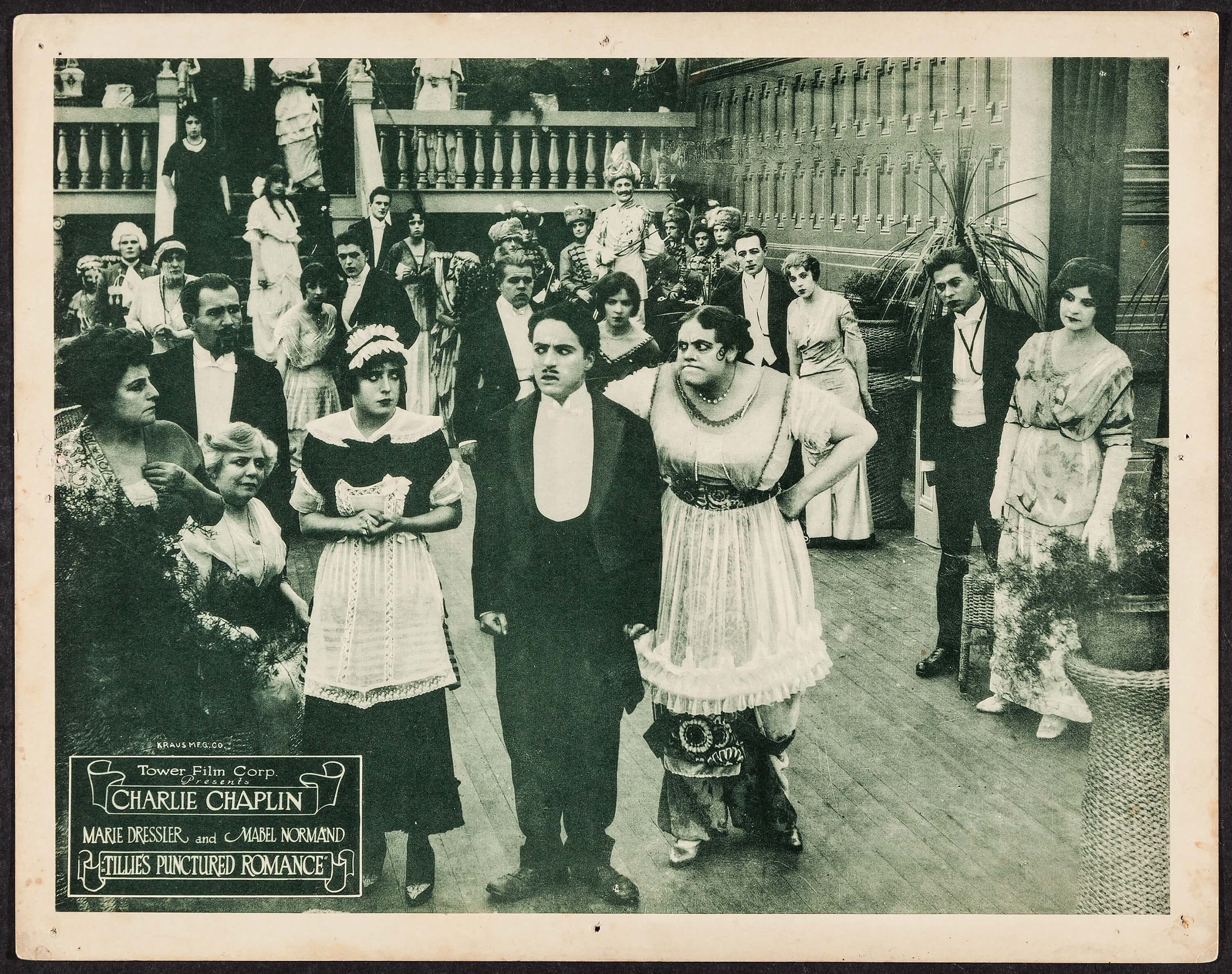 Mabel Normand, Charlie Chaplin and Marie Dressler in Tillie's Punctured Romance (1914) US 1918 reissue lobby card