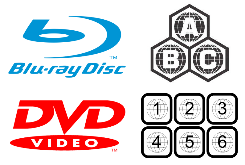 Blu-ray and DVD region code symbols