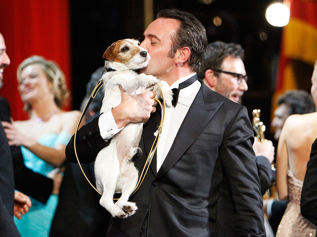 Uggie the dog and Jean Dujardin, stars of The Artist (2011)