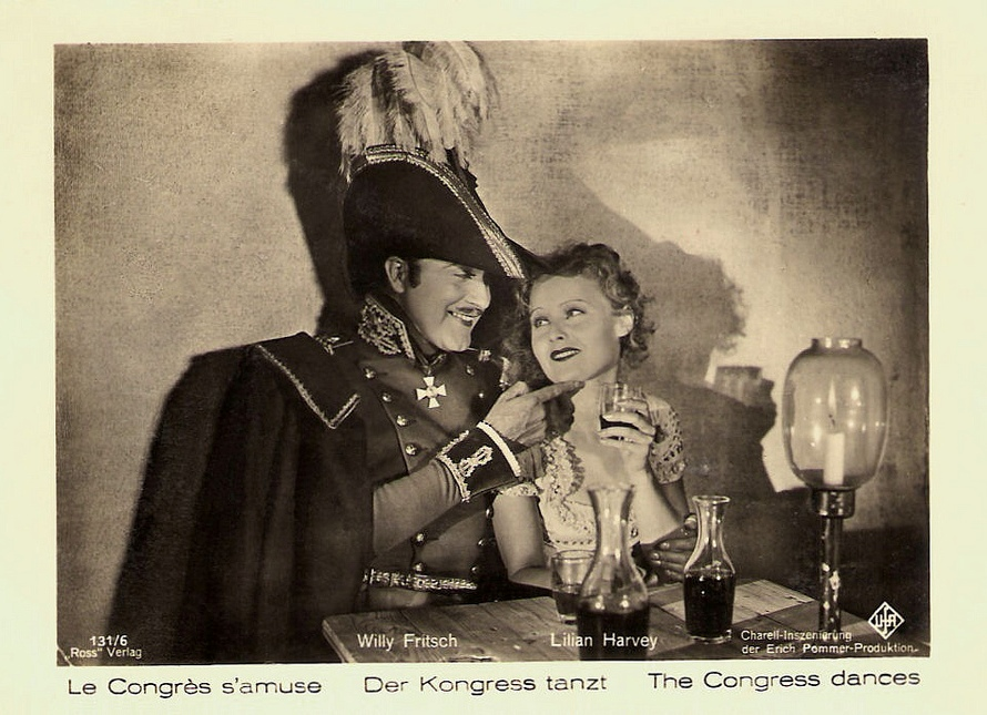 Willy Fritsch and Lilian Harvey in Der Kongreß tanzt (The Congress Dances, 1931), German lobby card, cropped
