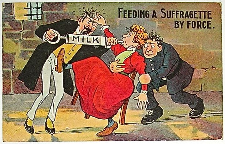 'Feeding a Suffragette by force' anti-suffragette postcard, c.1910s