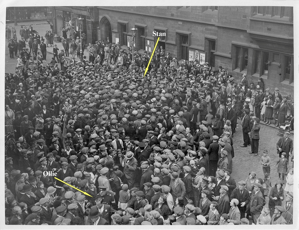 One of the many crowds that gathered to greet Stan Laurel on his return to North Shields with Oliver Hardy in 1932