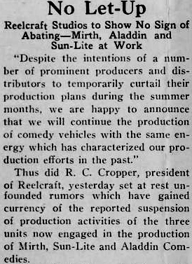 Reelcraft, US silent film studio, press cutting