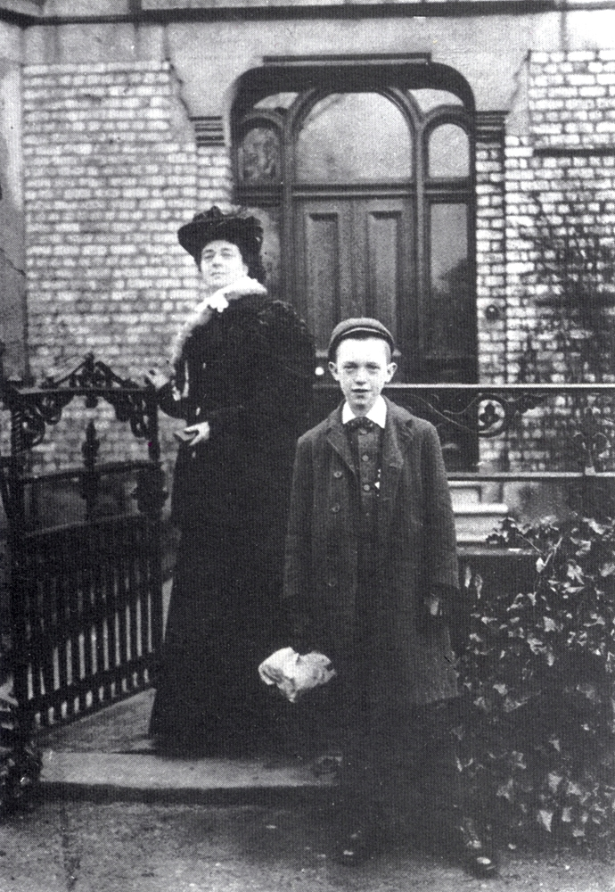Stan Laurel, aged about 12, with his mother Madge outside Ayton House, his second North Shields home