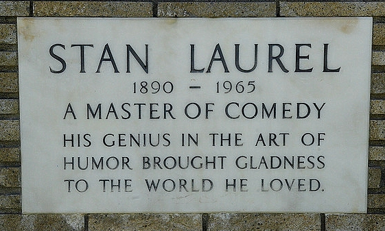 Stan Laurel's memorial tablet in Forest Lawn Memorial Park, Los Angeles