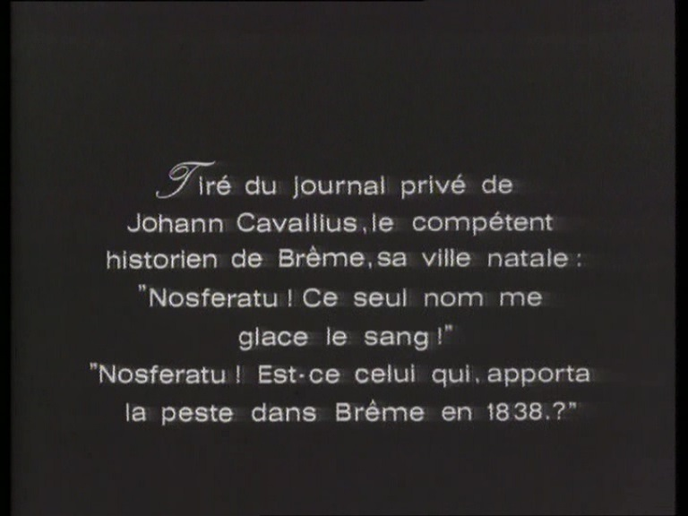 Nosferatu (1922) French intertitle by Atlas Film, 1969