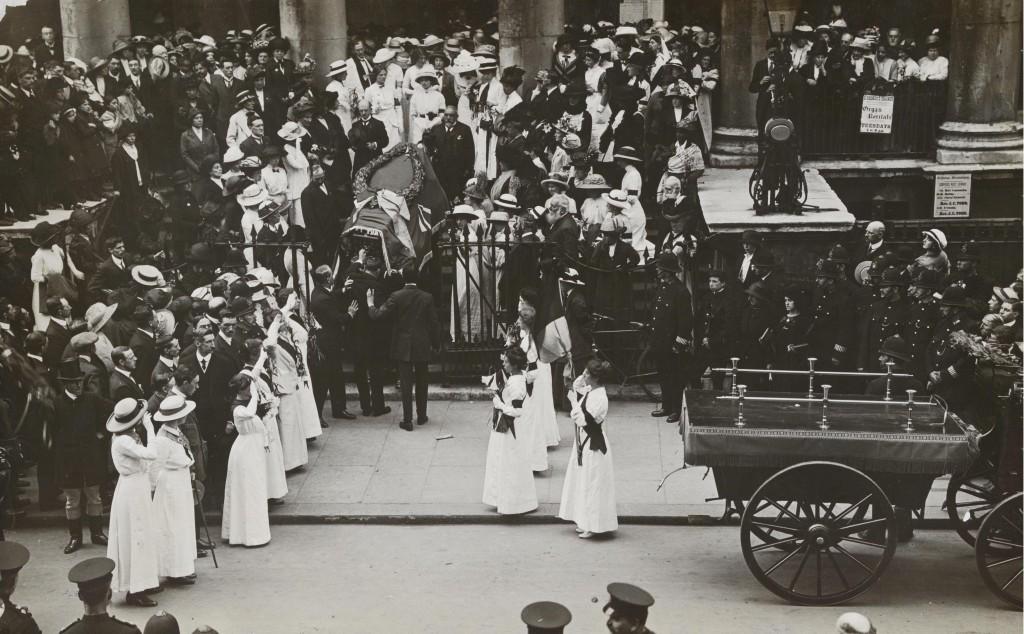 Suffragette Emily Wilding Davison's memorial service, St George's Church, Bloomsbury, 14 June 1913