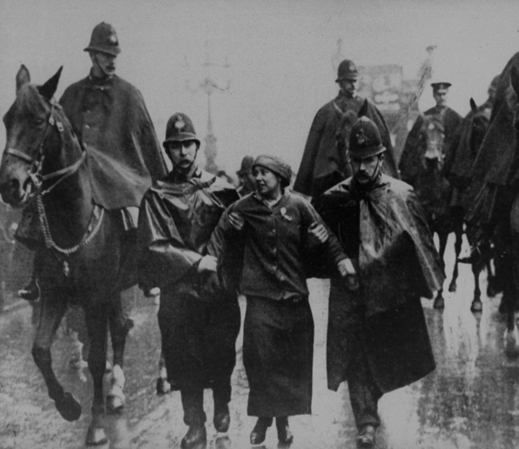 Sylvia Pankhurst being arrested at a protest in Trafalgar Square, 1913