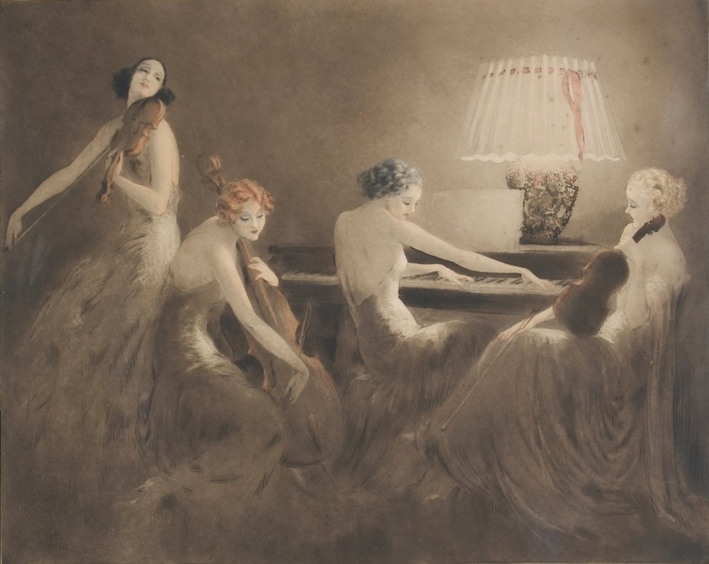 Melody Hour (1934) by Louis Icart (1888–1950), aquatint with hand-colouring