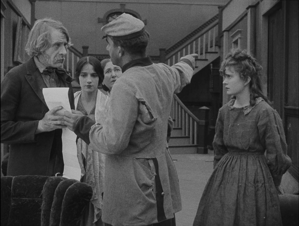 Spottiswoode Aitken (L), Miriam Cooper, Josephine Crowell, unknown soldier and Mae Marsh in The Birth of a Nation (1915) BFI Blu-ray screenshot