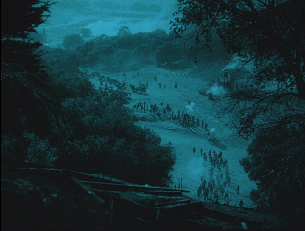 The Birth of a Nation (1915) BFI Blu-ray screenshot, the Union Army marching through Georgia