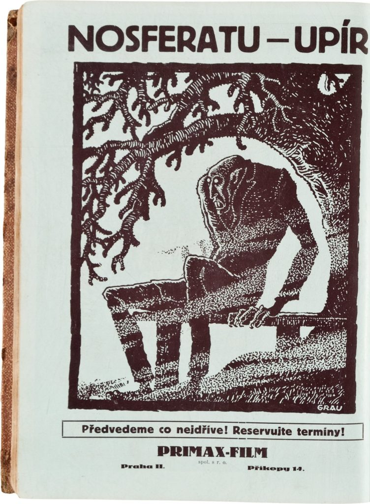 Upír Nosferatu (1922) Primax-Film advert with Albin Grau artwork in Czech film exhibitors' book, c. 1926