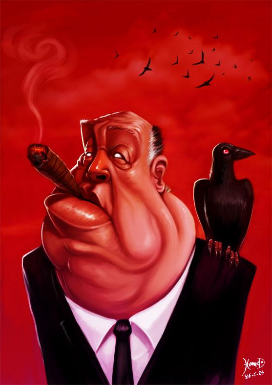 Alfred Hitchcock caricature by Hamed Talebany aka hamex, 2007