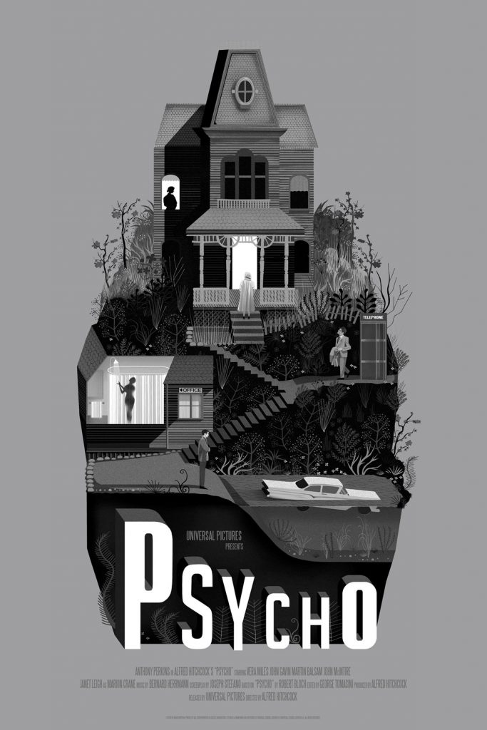Psycho (1960, dir. Alfred Hitchcock) poster by Adam Simpson, 2018