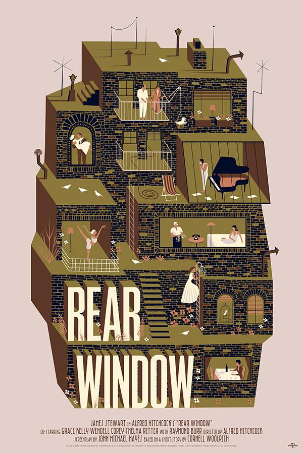 Rear Window (1954, dir. Alfred Hitchcock) poster by Adam Simpson, 2014