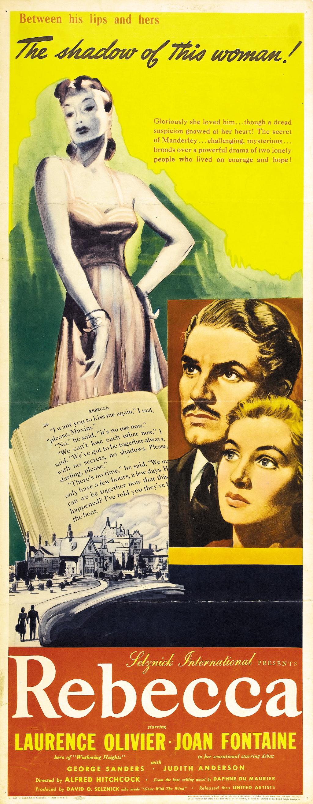 Rebecca (1940, dir. Alfred Hitchcock) US insert poster