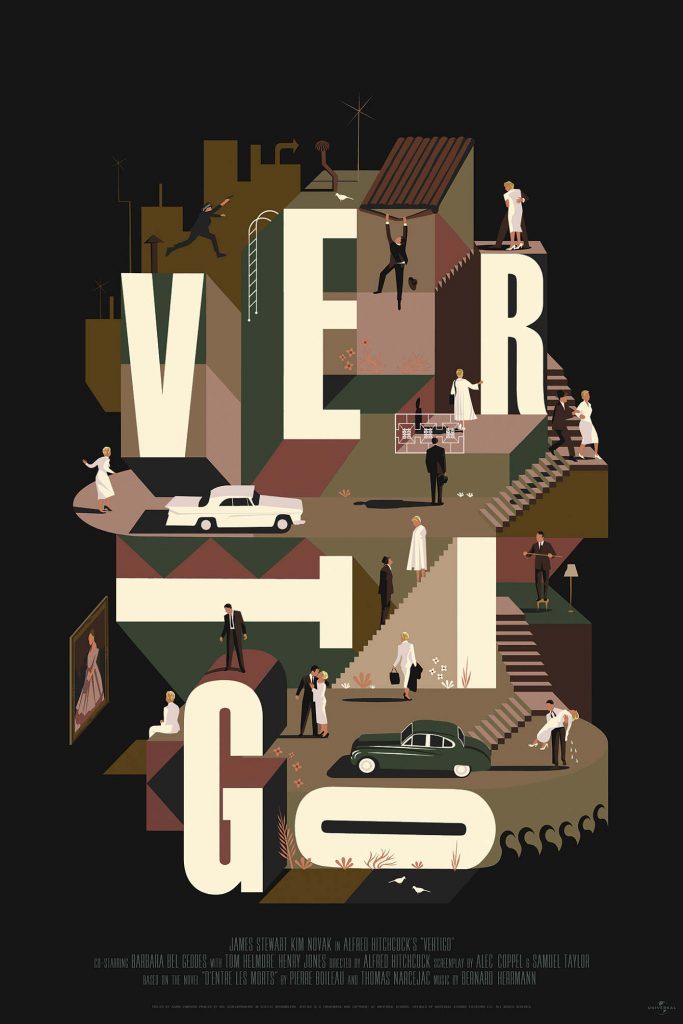 Vertigo (1958, dir. Alfred Hitchcock) poster by Adam Simpson, 2016