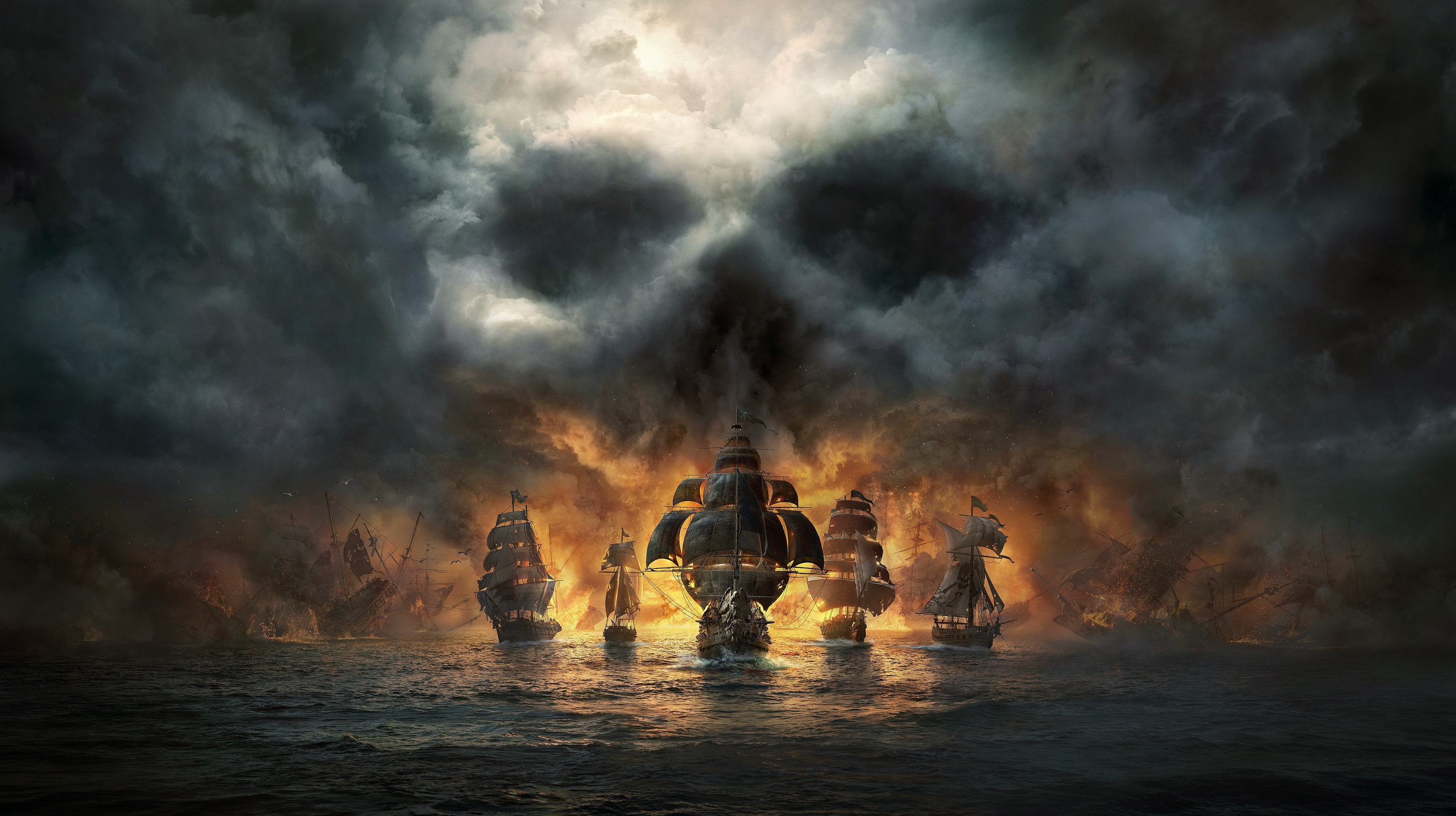 Pirate ships with skull clouds