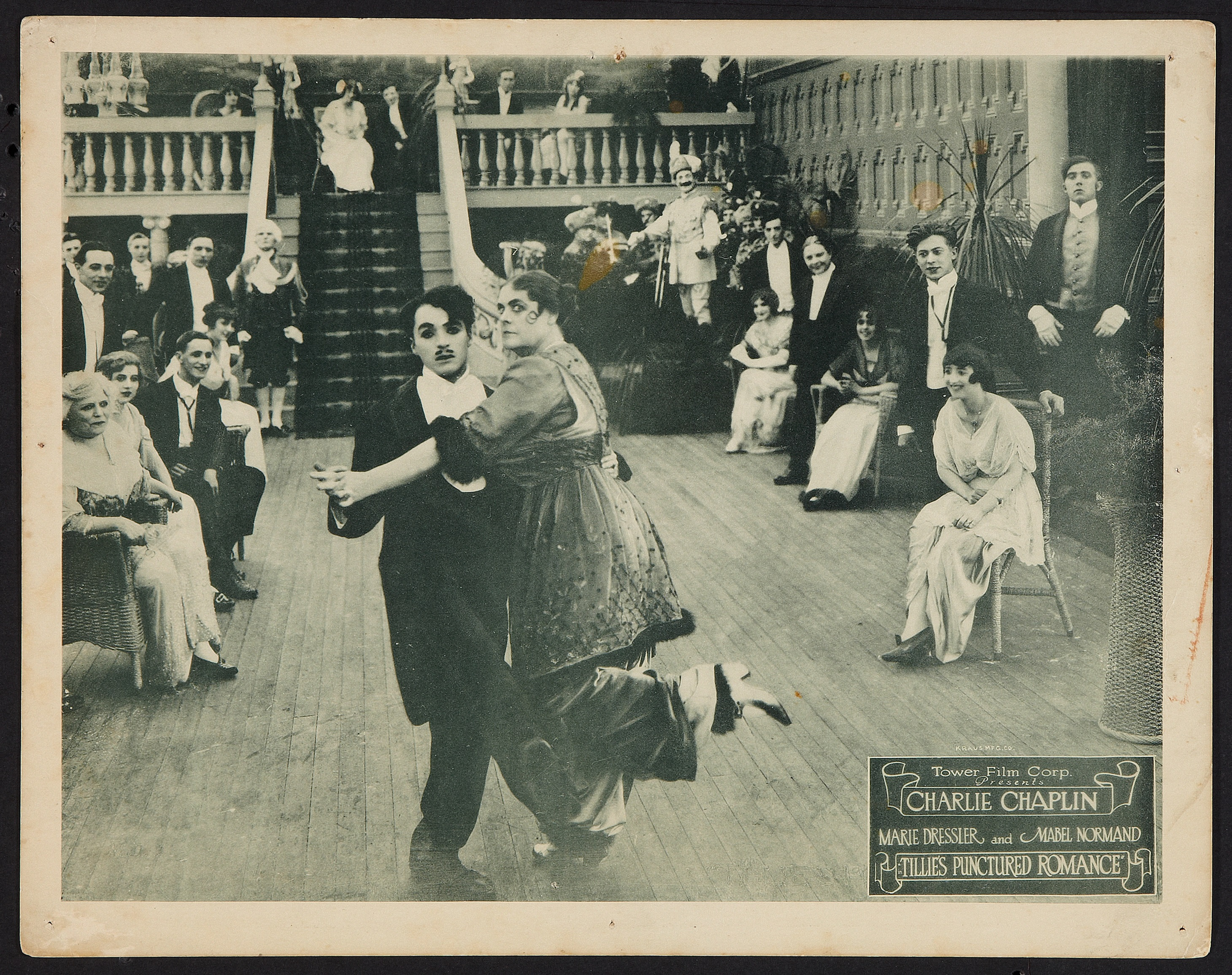 Charlie Chaplin and Marie Dressler in Tillie's Punctured Romance (1914) US 1918 reissue lobby card