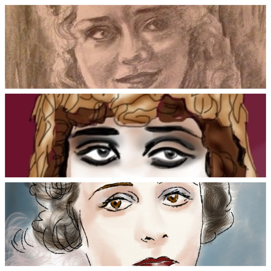 Silent film actresses' eyes montage by Jessica Martin. Top-bottom Mary Pickford, Theda Bara and Norma Talmadge.
