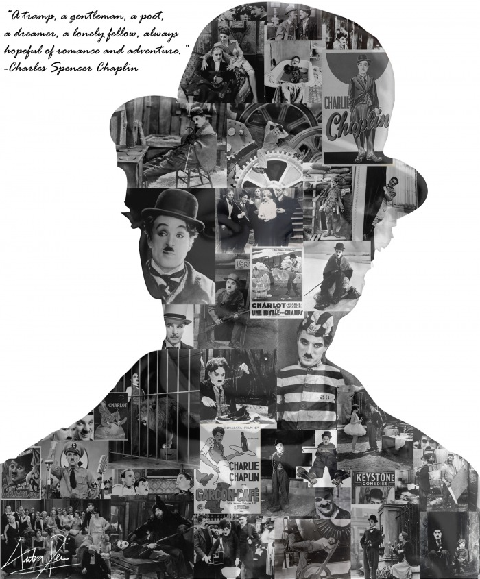 Charlie Chaplin's huge back catalogue sets a daunting task for collectors. silhouette montage