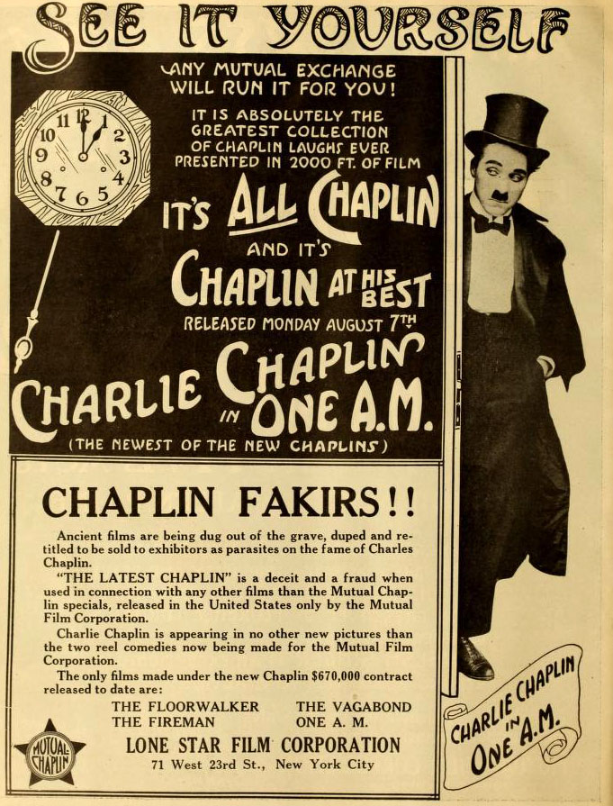One A.M. (Charlie Chaplin, 1916) US trade magazine advert warning against the bogus reissuing of old product. A century later that same reissued old product fills PD DVDs and is being passed off as quality Chaplin.