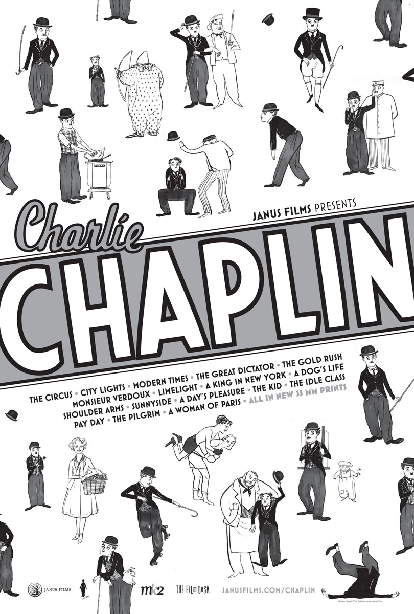Charlie Chaplin, Janus Films theatrical re-release poster by Kate Beaton, 2010