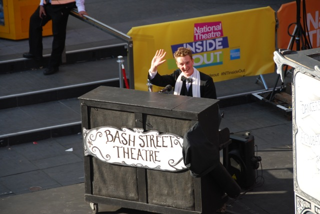 Seamas Carey at his keyboard-cum-piano for Bash Street Theatre's production of The Strongman during the National Thatre's Inside Out festival (2012)