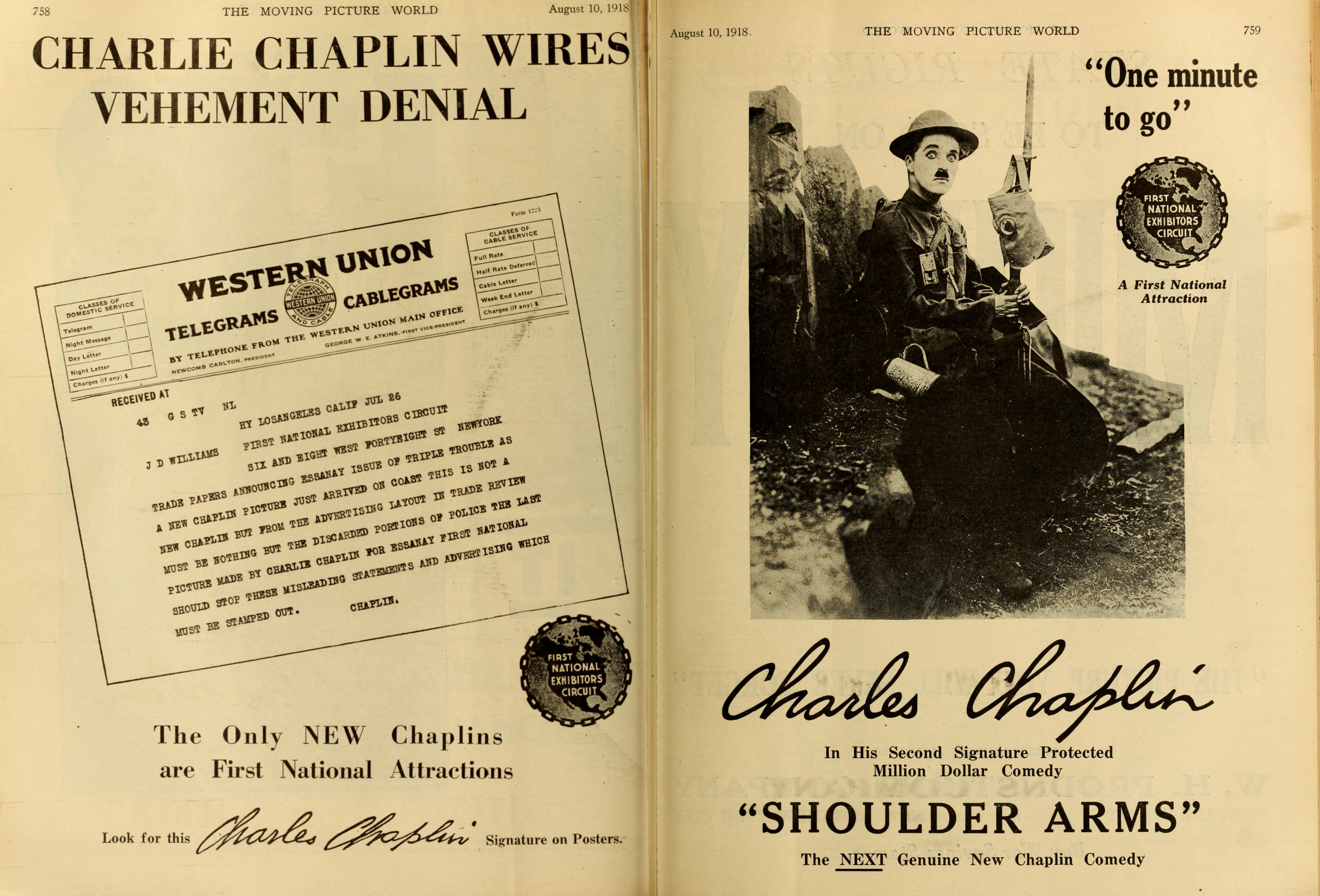 Charlie Chaplin Triple Trouble protest telegram and Shoulder Arms advert, Moving Picture World magazine, August 10, 1918, p.758-759