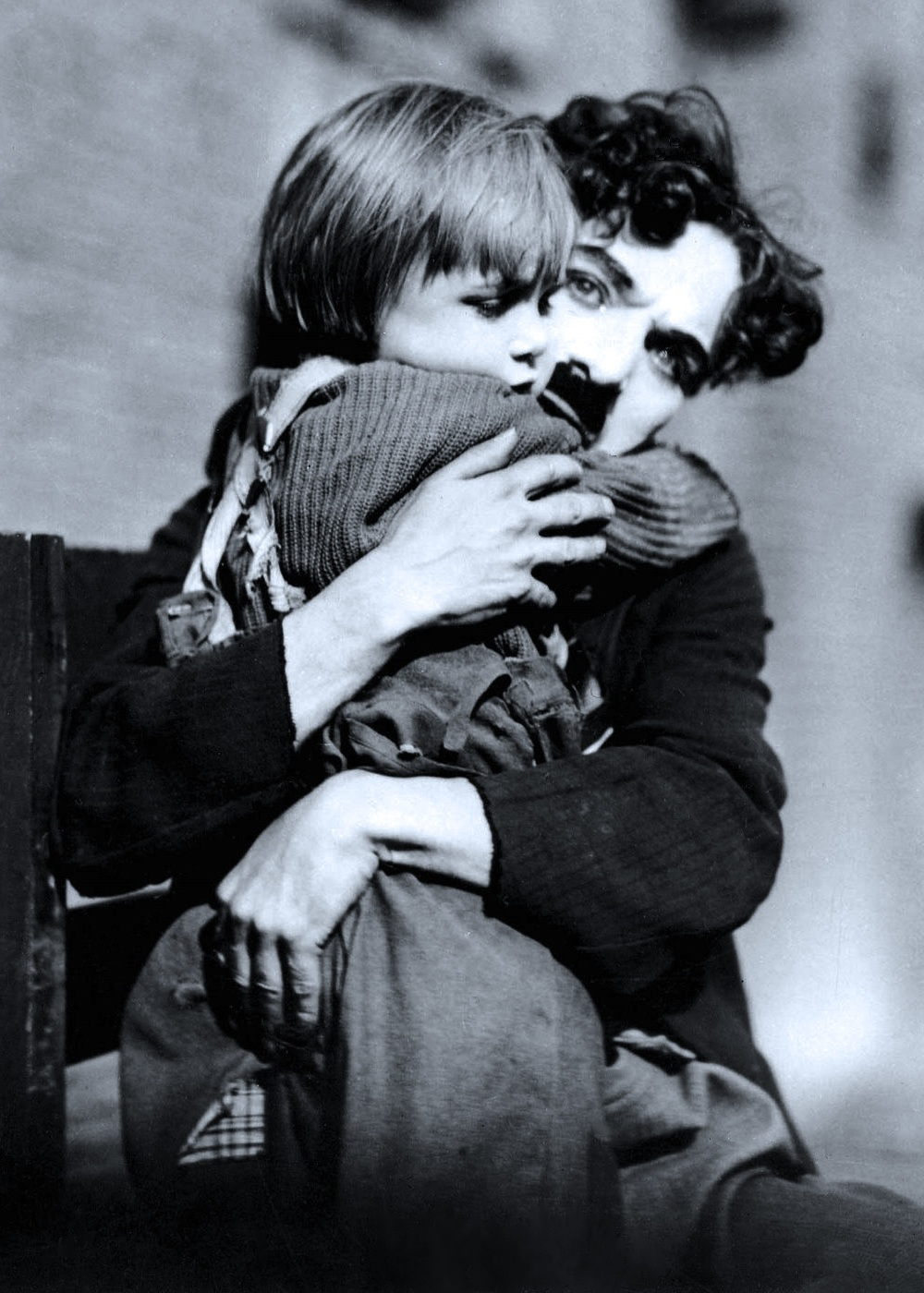 Jackie Coogan and Charlie Chaplin in The Kid (1921), blue tint cropped