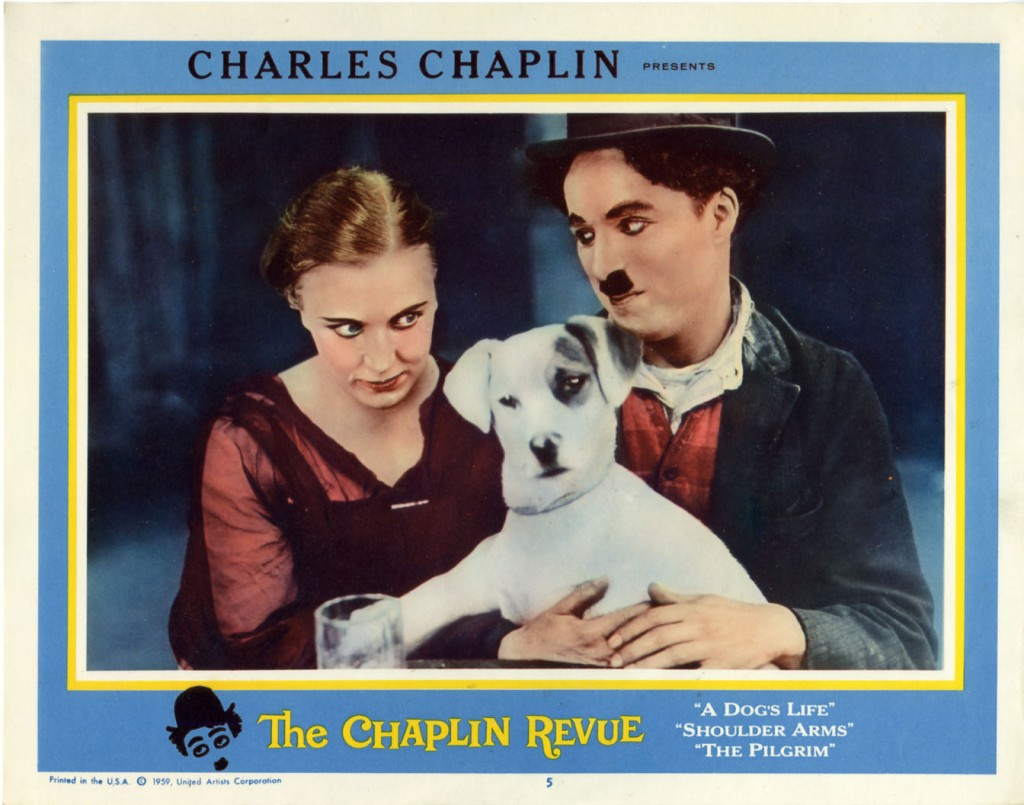 The Chaplin Revue (1959) US lobby card 5. Charlie Chaplin, Edna Purviance; including A Dog's Life, Shoulder Arms (both 1918), The Pilgrim (1923). Edna, Charlie, Scraps