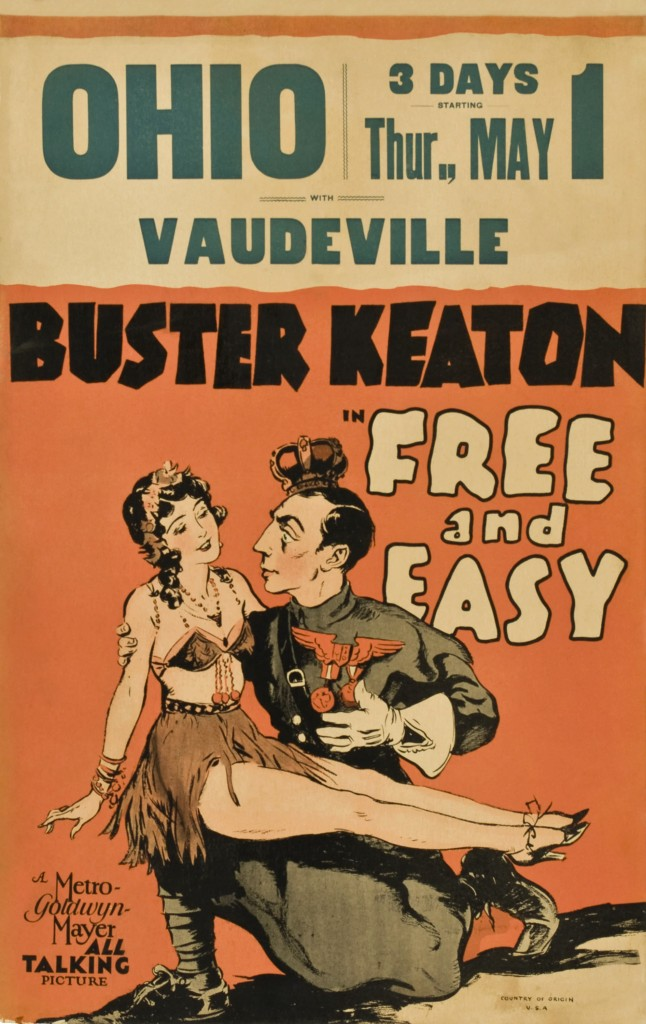Free and Easy (1930) starring Buster Keaton and Anita Page, Ohio theatre film poster
