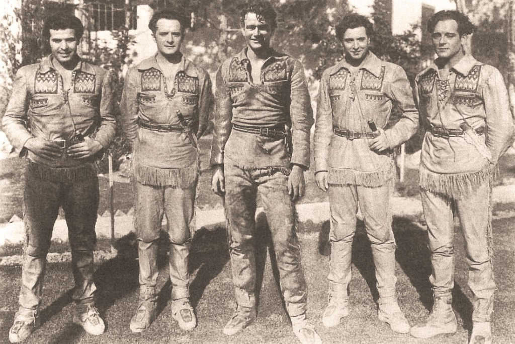 The Big Trail (1930) multiple-language versions leading men, L-R – Gaston Glass, Theo Shall, John Wayne, Franco Corsaro and Jorge Lewis, sepia tint