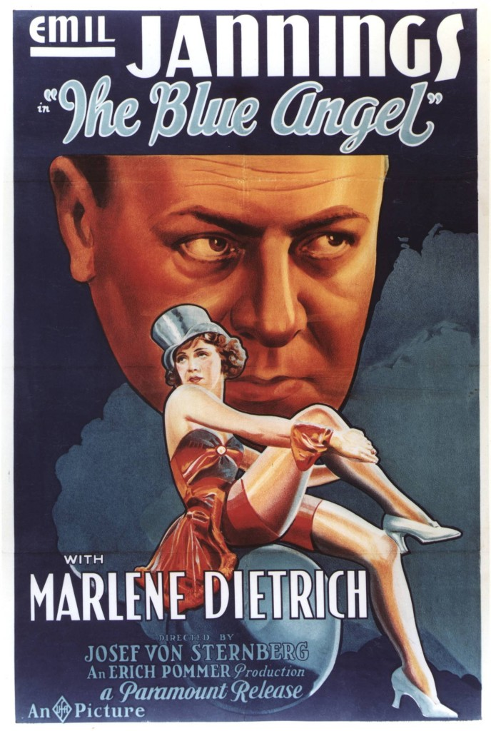 The Blue Angel (Der blaue Engel) (1930) with Marlene Dietrich and Emil Jannings, US poster