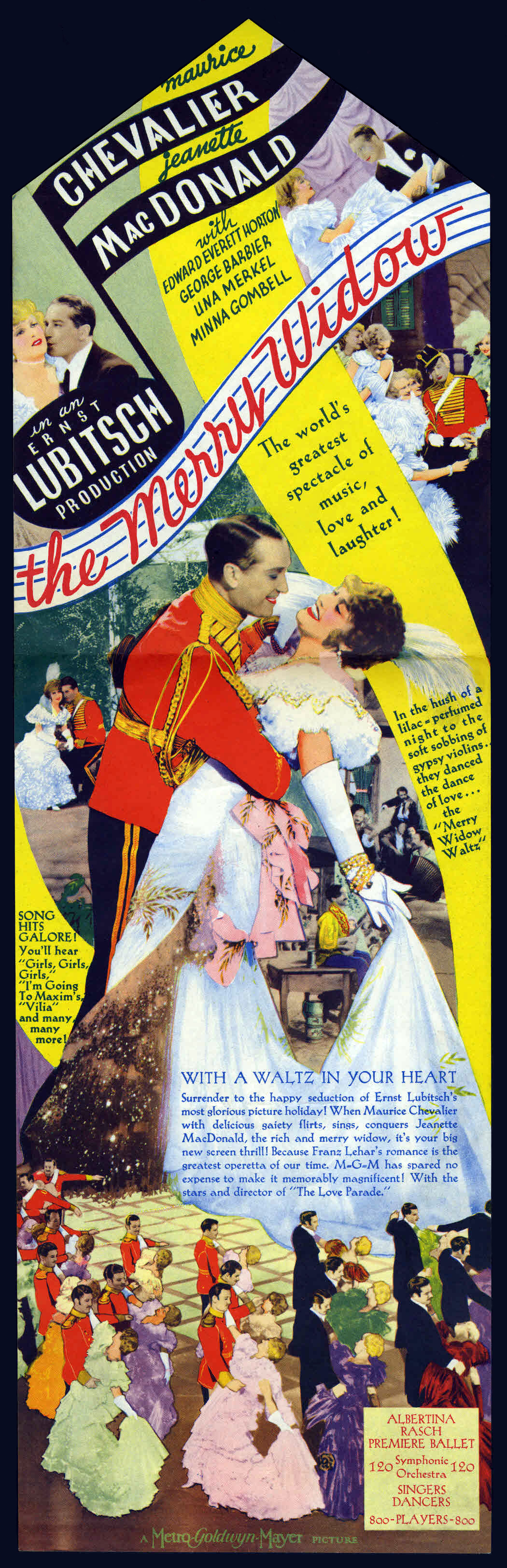 The Merry Widow (1934), starring Maurice Chevalier and Jeanette MacDonald, directed by Ernst Lubitsch; Australian daybill poster