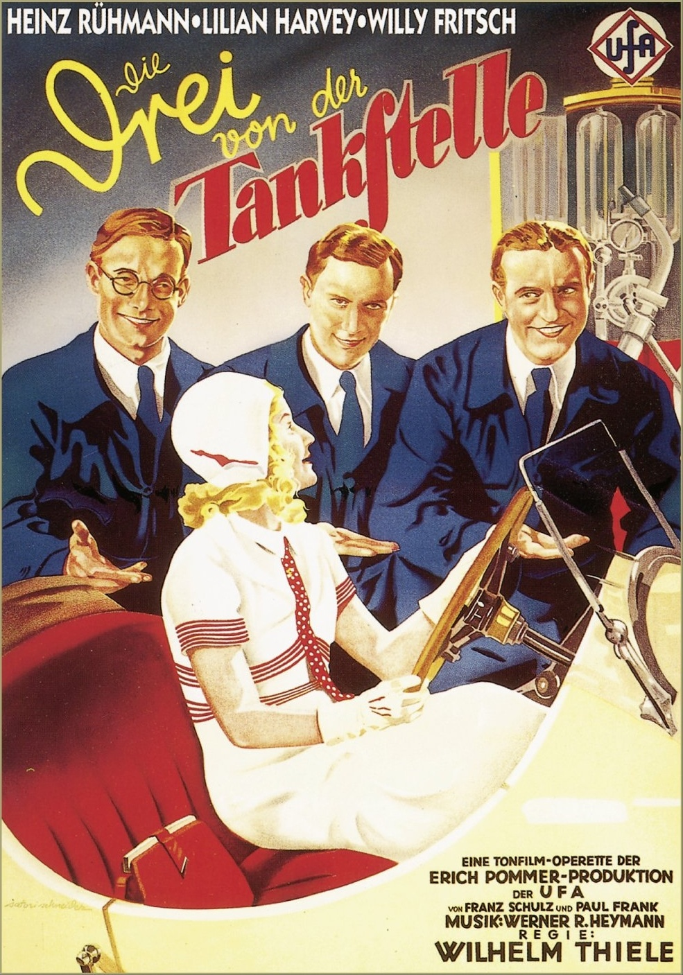 Die Drei von der Tankstelle aka The Three from the Filling Station (1930) German poster