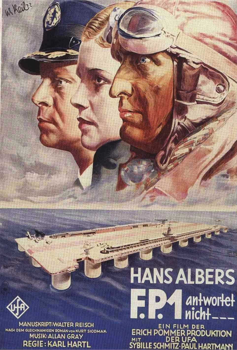F.P.1 antwortet nicht (F.P.1 doesn't answer, 1932) with Hans Albers; German poster