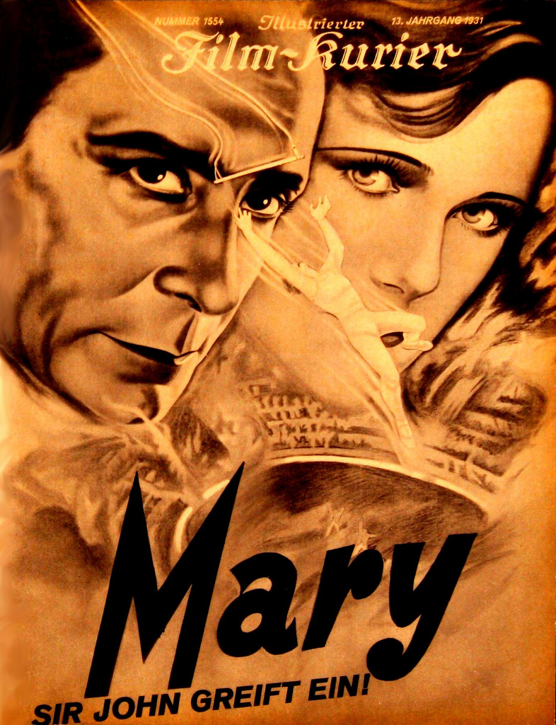 Mary (1931), German version of Murder! (1930); both directed by Alfred Hitchcock. Film-Kurier magazine cover