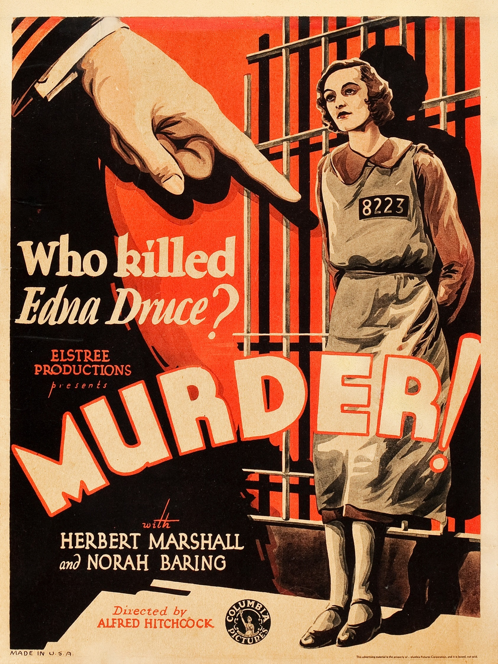 Murder! (1930, dir. Alfred Hitchcock) US window card
