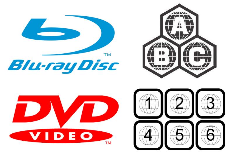 Blu-ray and DVD region code symbols