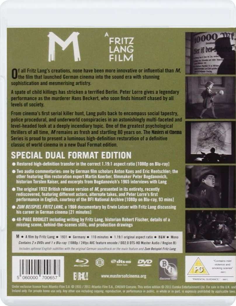 M (1931) Eureka-Masters of Cinema UK Blu-ray rear