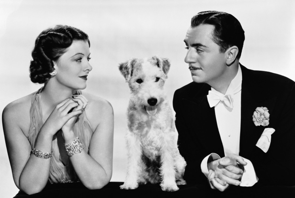Stars of The Thin Man (1934). William Powell and Myrna Loy as Nick and Nora Charles and Asta, played by Skippy, a wire-haired fox terrier.