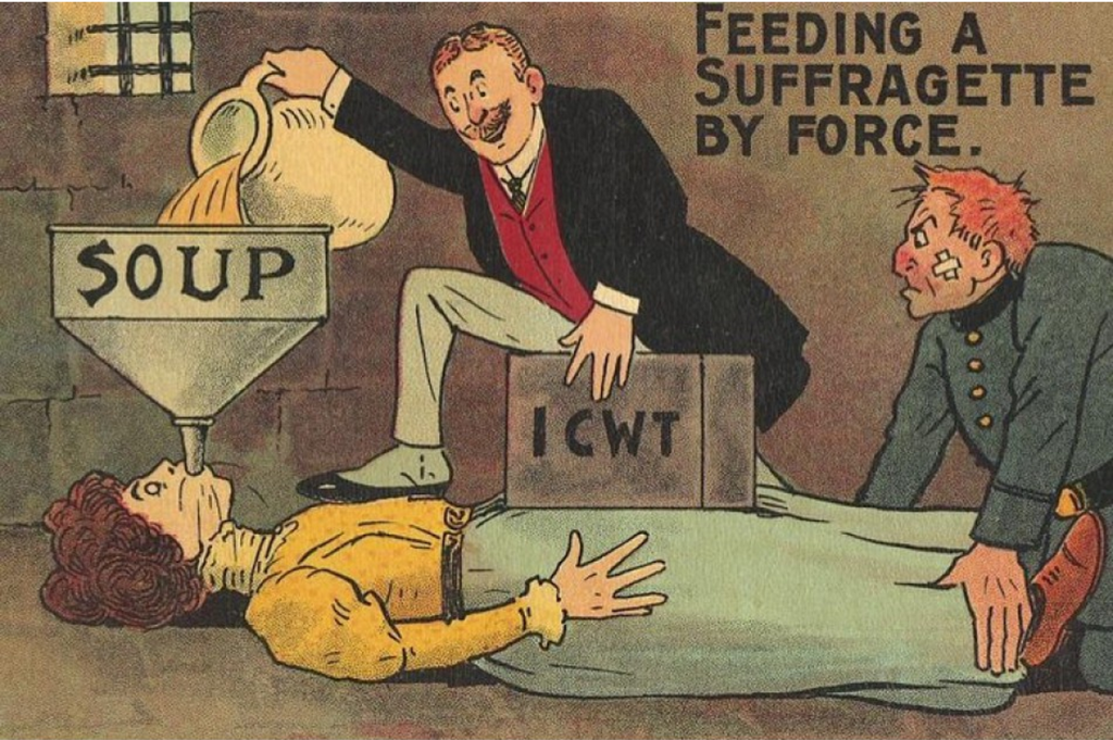 'Feeding a Suffragette by force' anti-suffragette postcard, c.1910s, #2