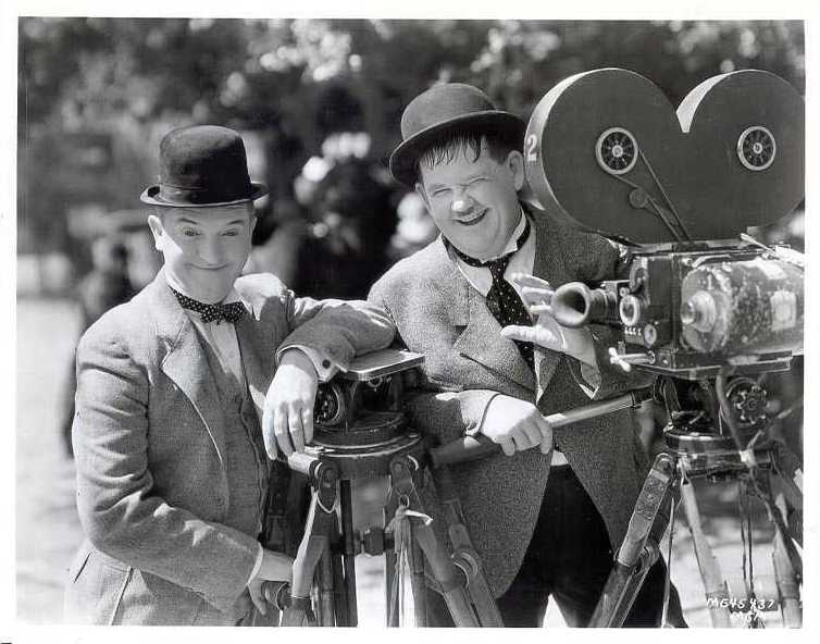 Laurel and Hardy in costume whilst shooting