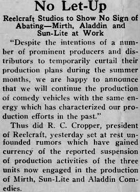 Reelcraft, US silent film studio, press cutting