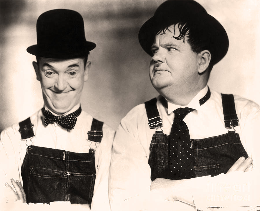 Stan Laurel and Oliver Hardy in The Music Box (1932), tinted sepia