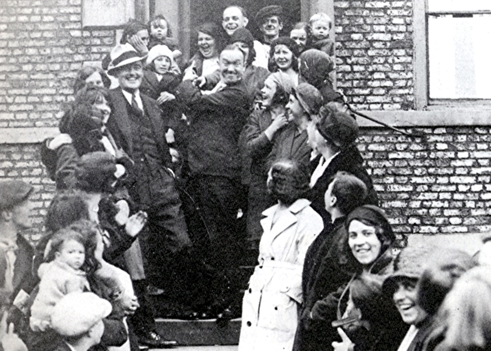 Stan Laurel on the steps of his boyhood home in Dockwray Square, North Shields in 1932