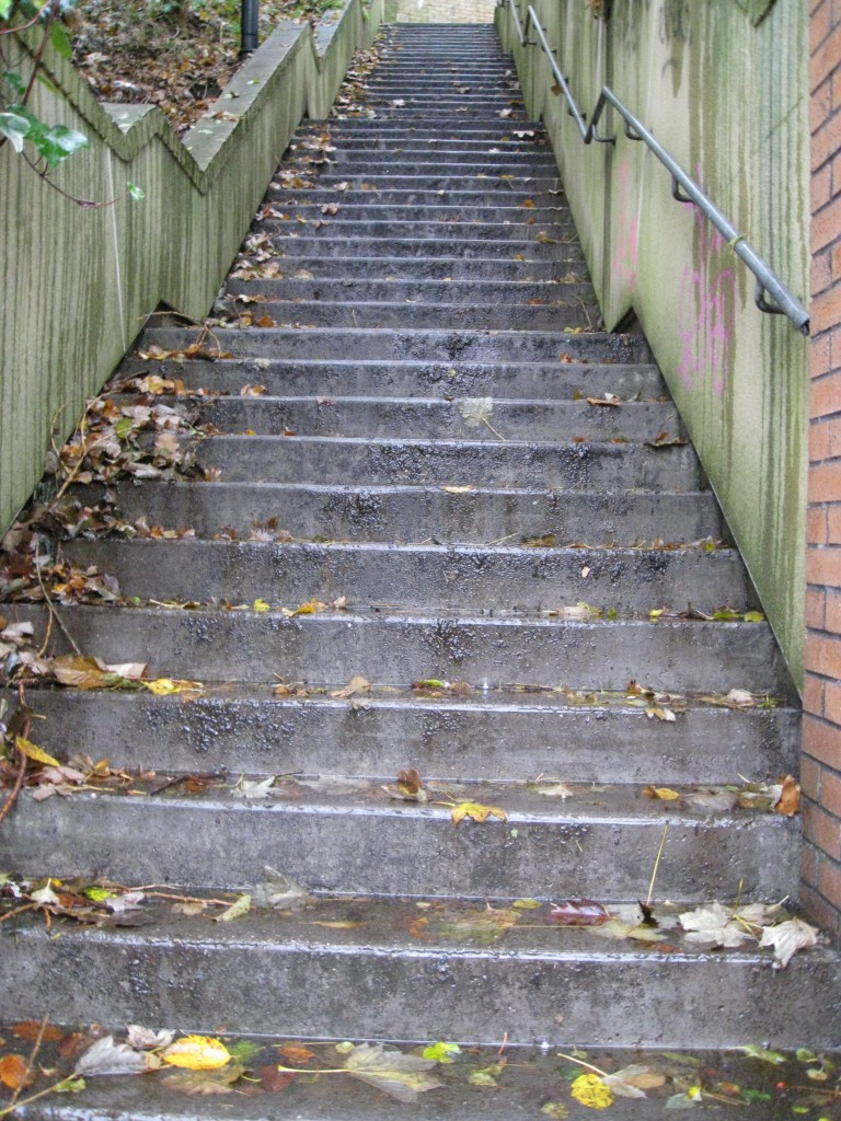 Steep steps from North Shields Fish Quay up to the Bank Top, the location of Stan Laurel's Dockwray Square home; just one of the many sets of steep steps cut into the bankside